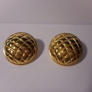 Monet Gold Tone Basket Weave Button Clip Earrings
